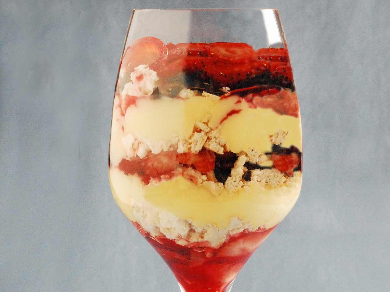 Strawberry and pavlova trifle in a glass