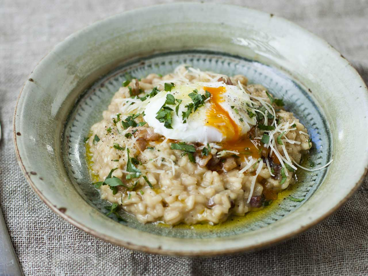 Diana Henry's bacon and egg risotto - Saga