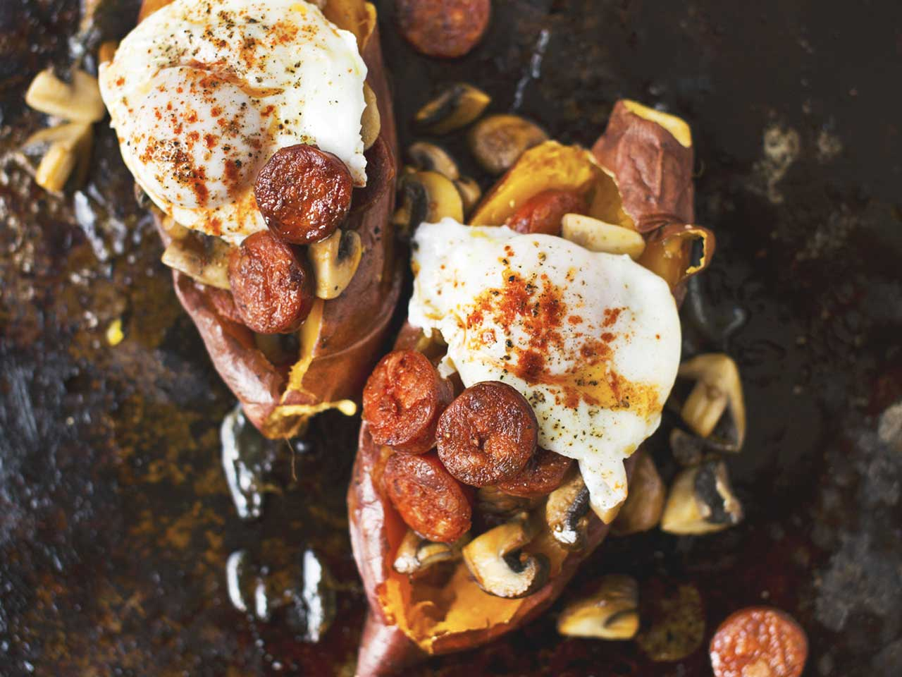 Baked sweet potato with chorizo and mushrooms