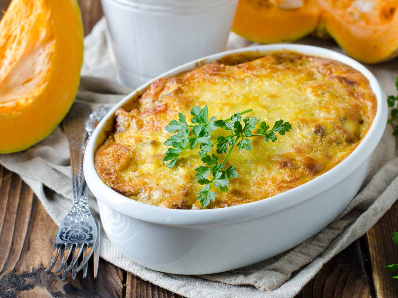 Pumpkin and white bean gratin
