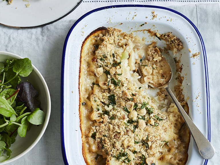 Diana Henry's Cod, leek and cider pie with cheddar cheese crumble