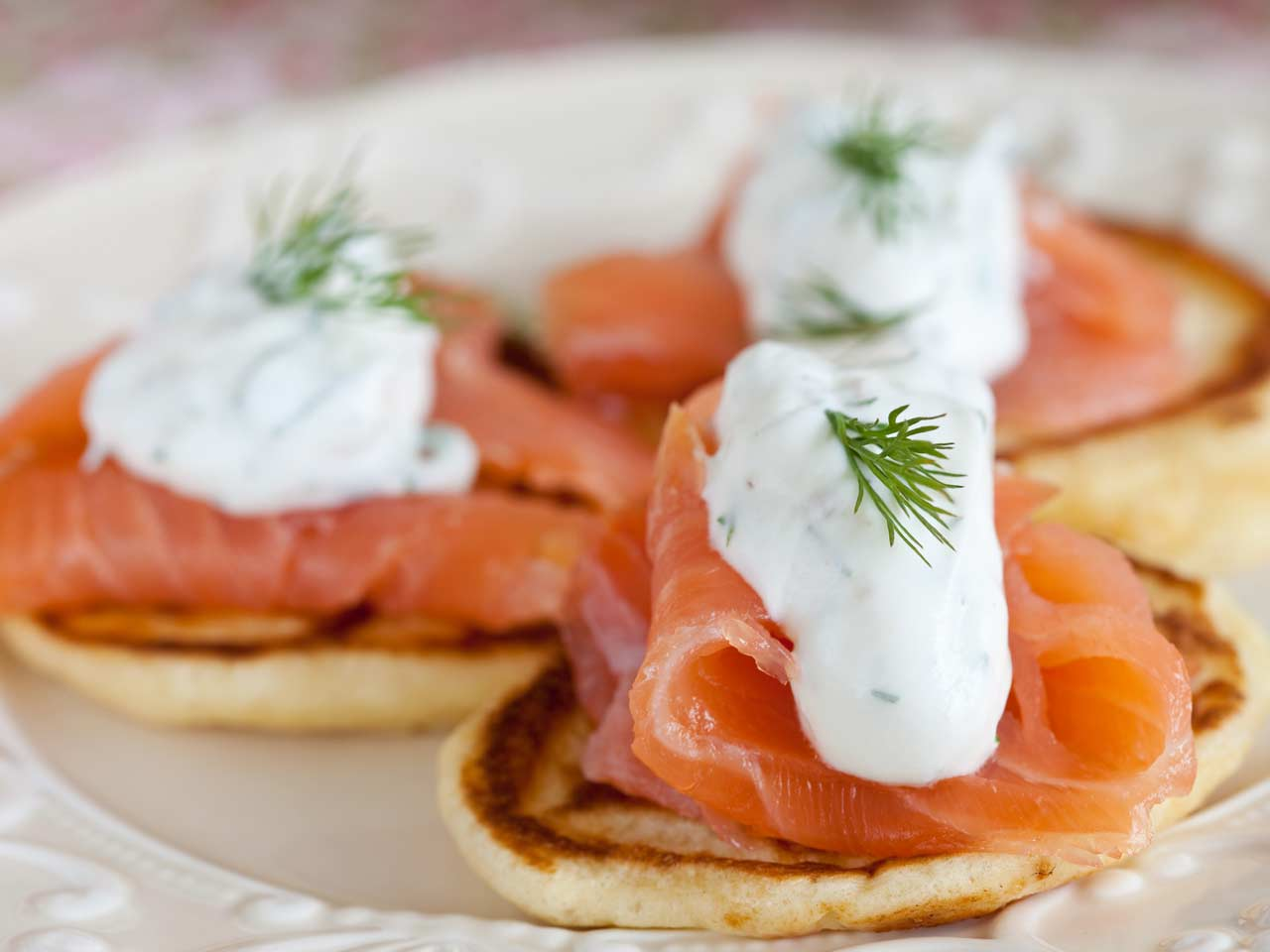 Drop scones with salmon and dill