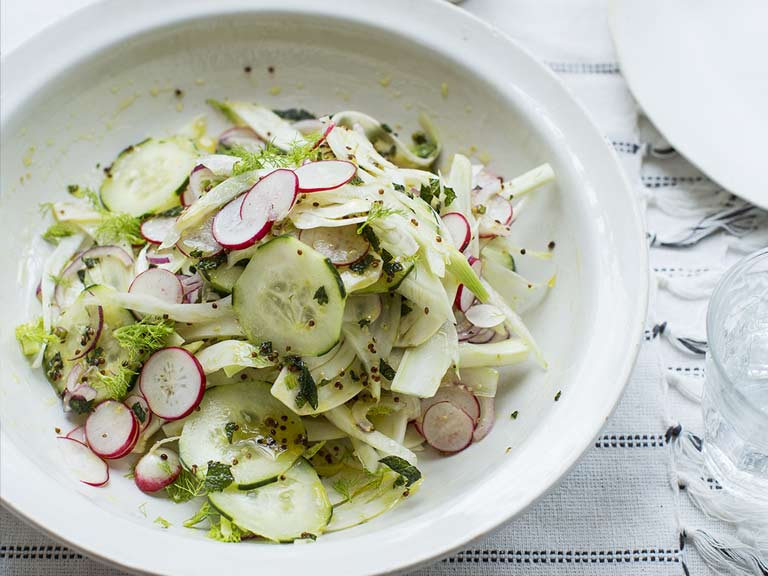 Shaved fennel, radish and cucumber salad with dill dressing