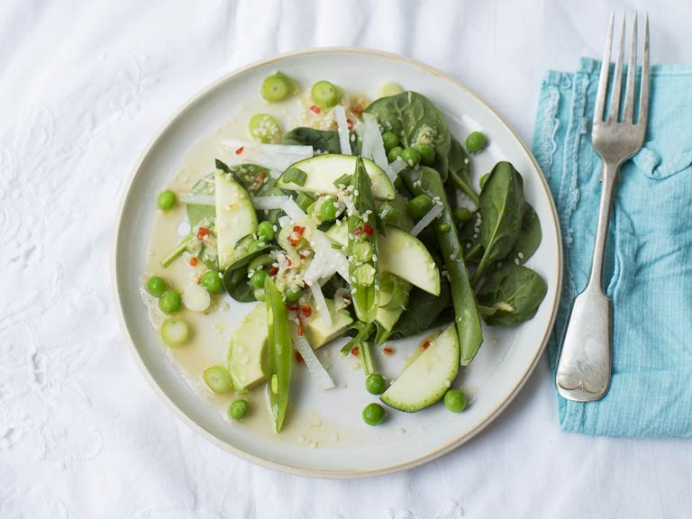 Green salad with a hot Asian dressing