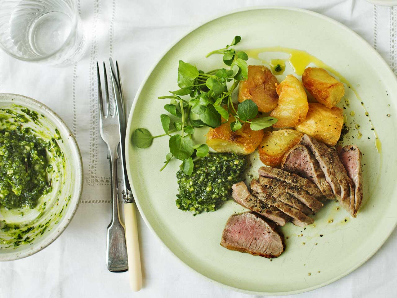 Roast lamb loin fillets with Sicilian relish
