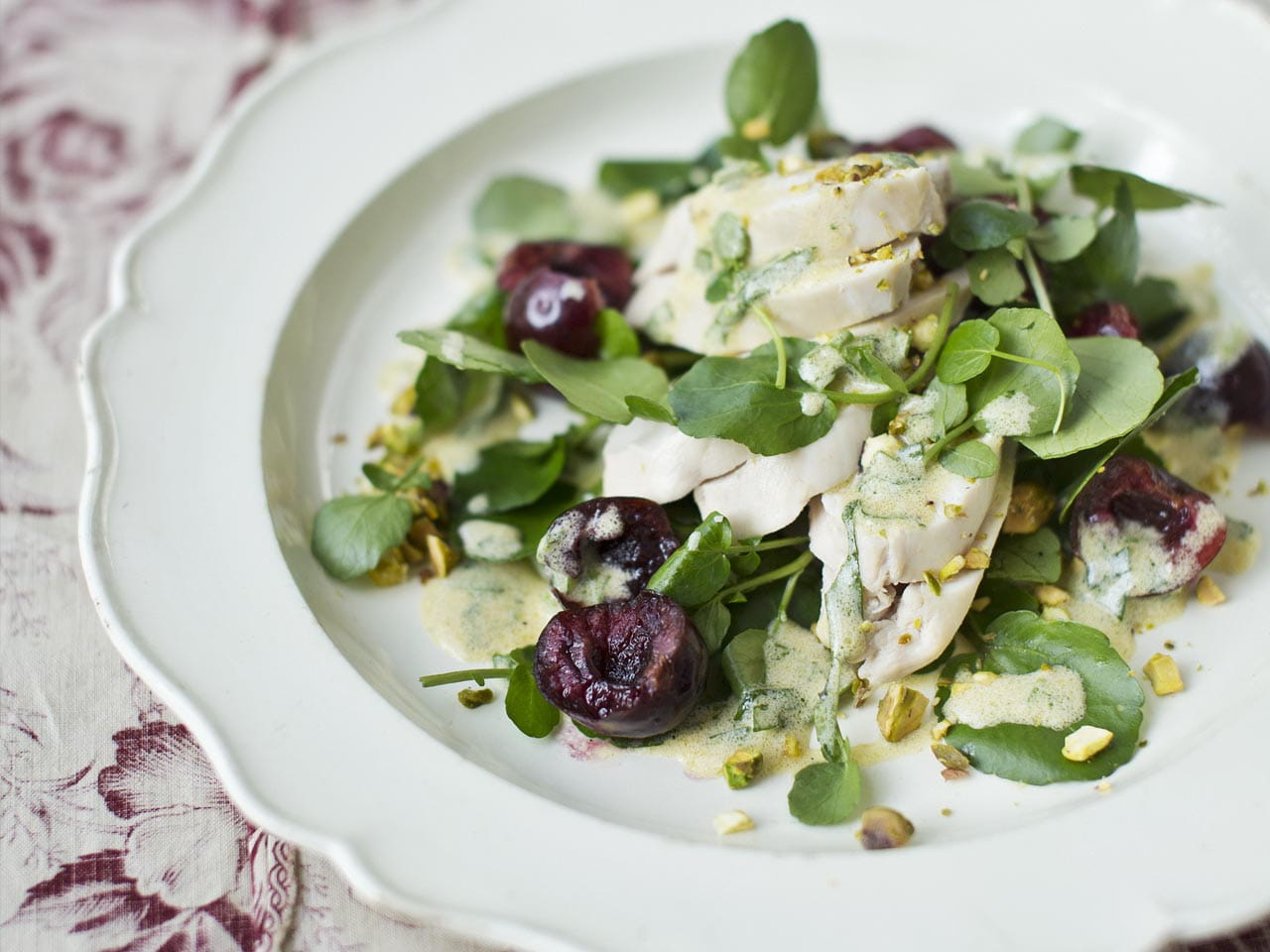 Chicken salad with cherries, watercress and tarragon dressing