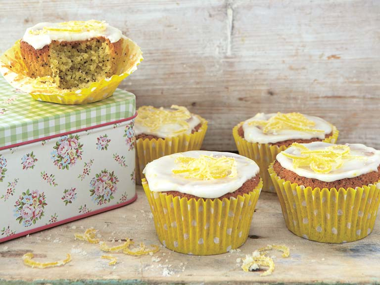Iced lemon and poppy seed cakes