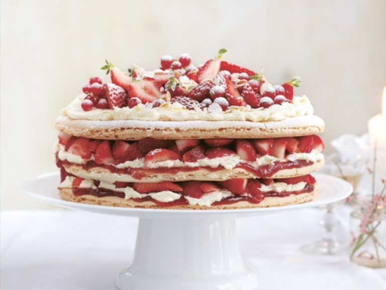 Strawberry macaron cake