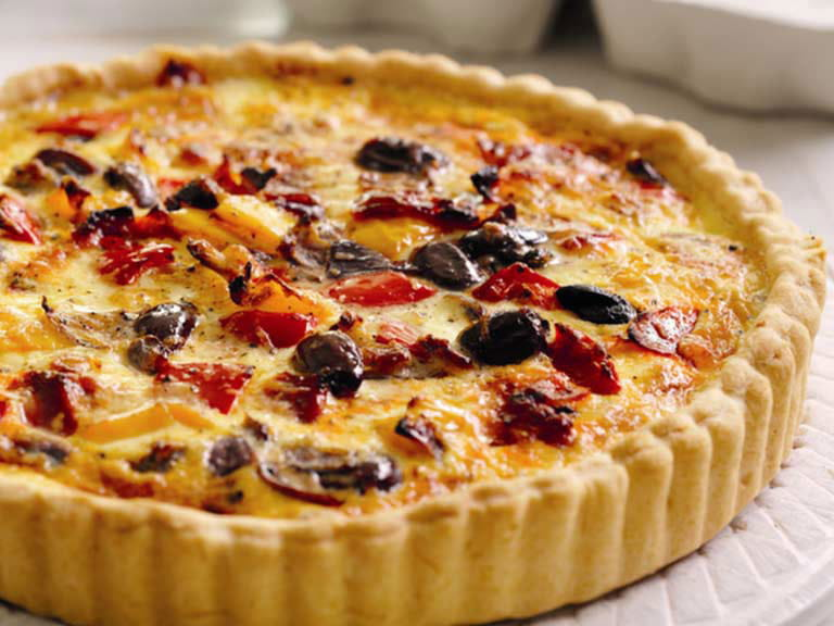Chorizo and red pepper tart