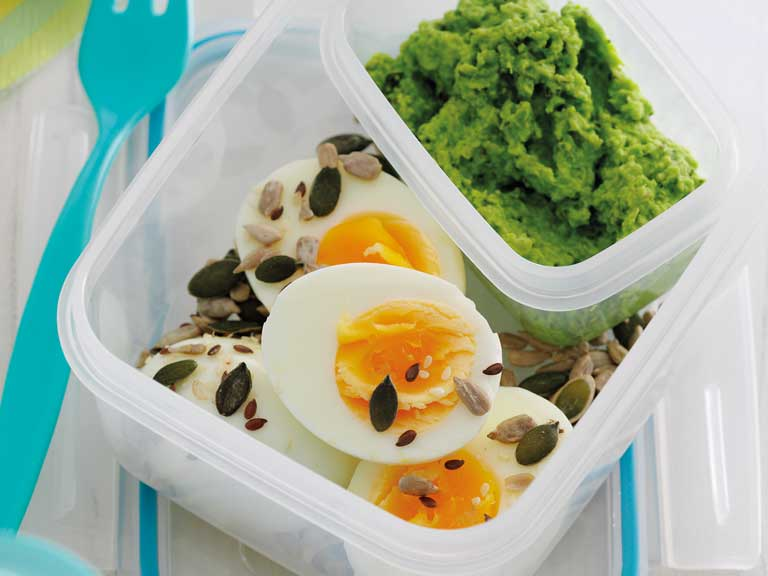 Egg protein pot with pea and mint dip