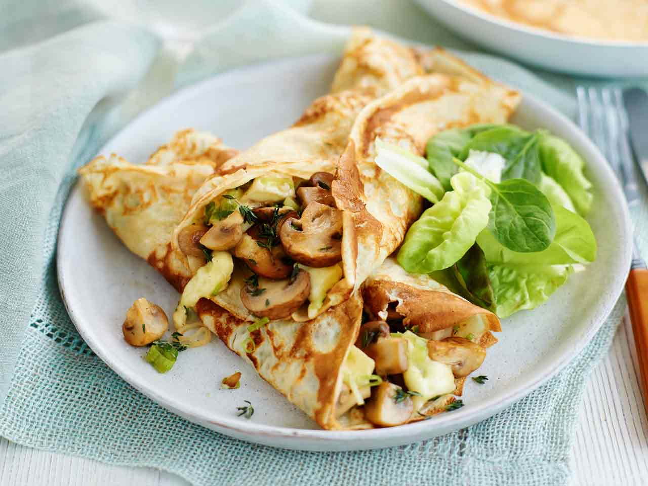 Garlic, mushroom and brie pancakes