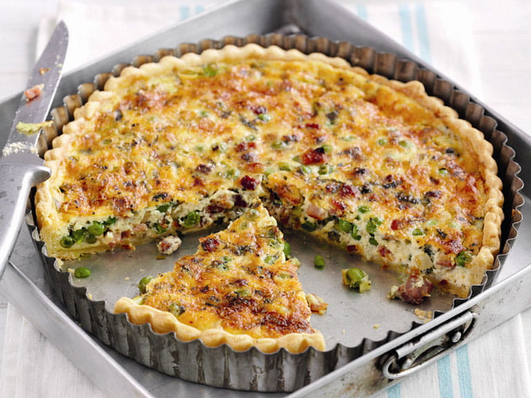 Minted pea and pancetta quiche