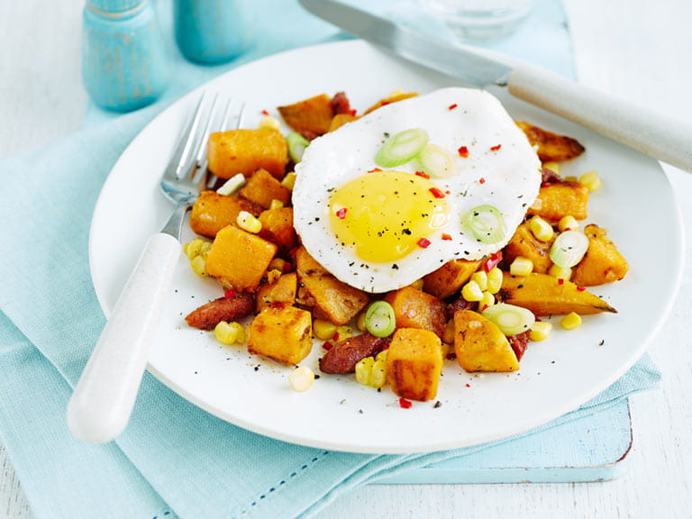 Sweet potato hash with fried egg