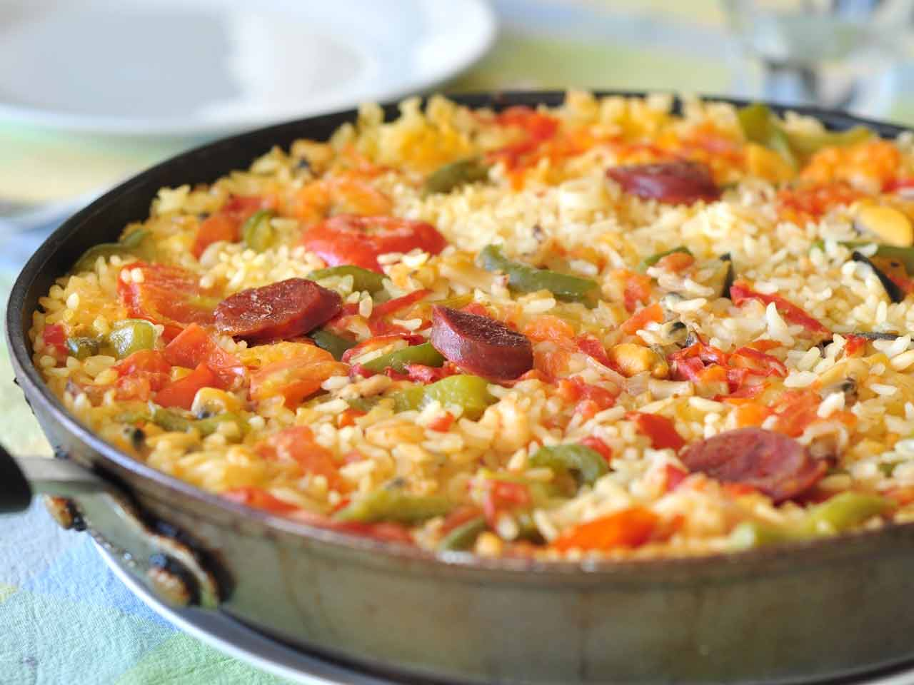Monkfish and chorizo paella with prawns