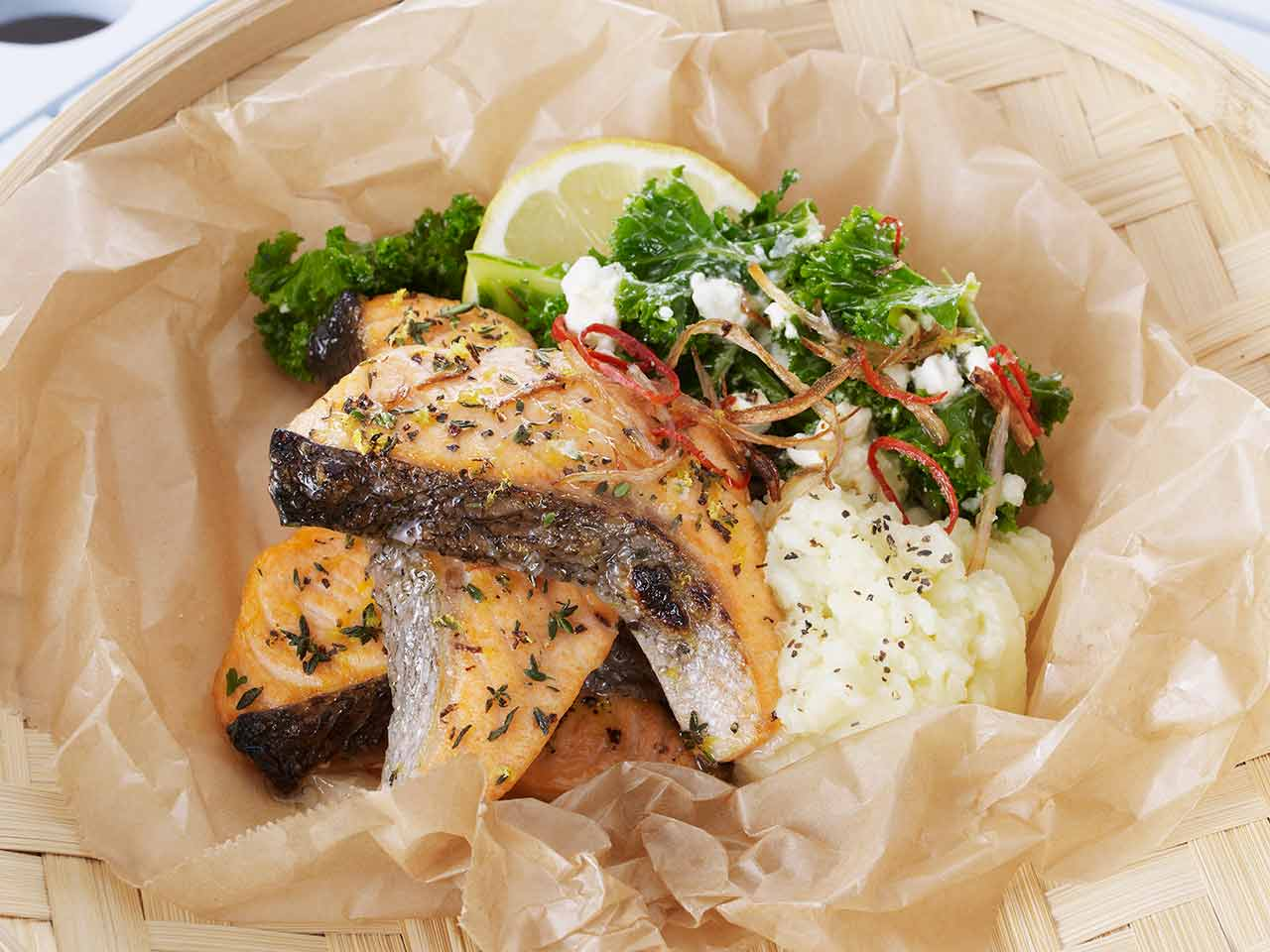 Lemon-and-thyme-glazed salmon