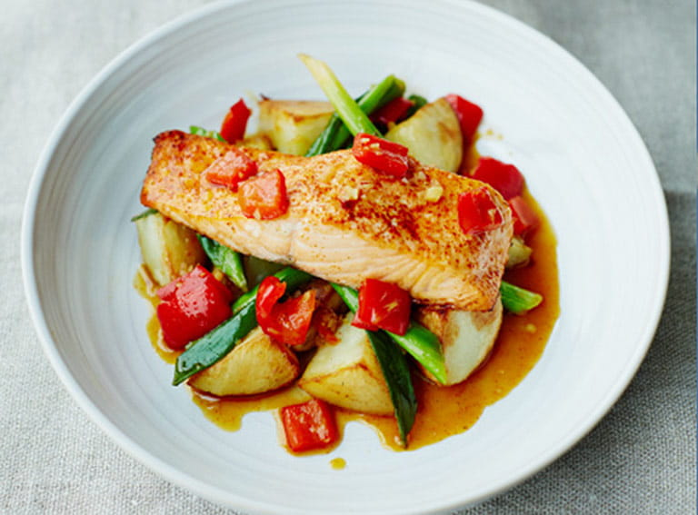 Roast salmon and King Edward potatoes with sweet and sour relish