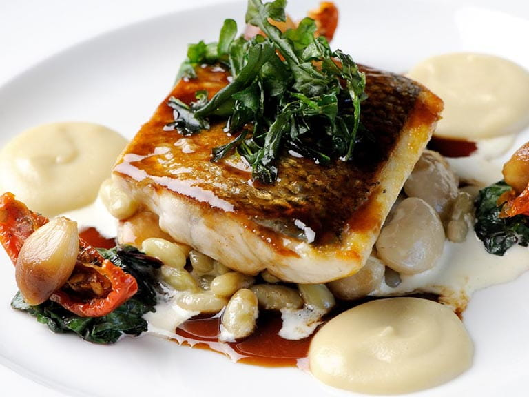 Sea bass with Jerusalem artichoke purée