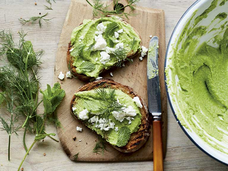 Sourdough toast with broad bean hummus.