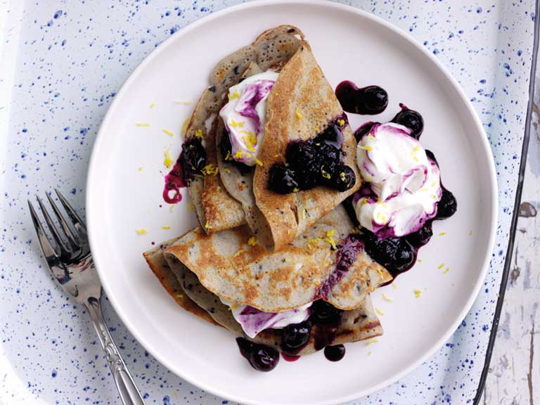 Blueberry Buckwheat Crepes With Greek Yoghurt And Blueberry Lemon Compote Saga