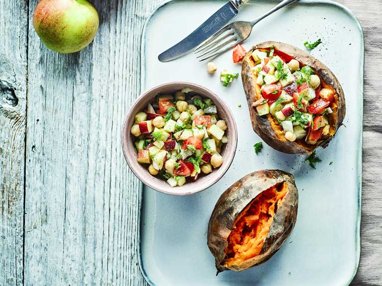 Baked sweet potato with apple salsa