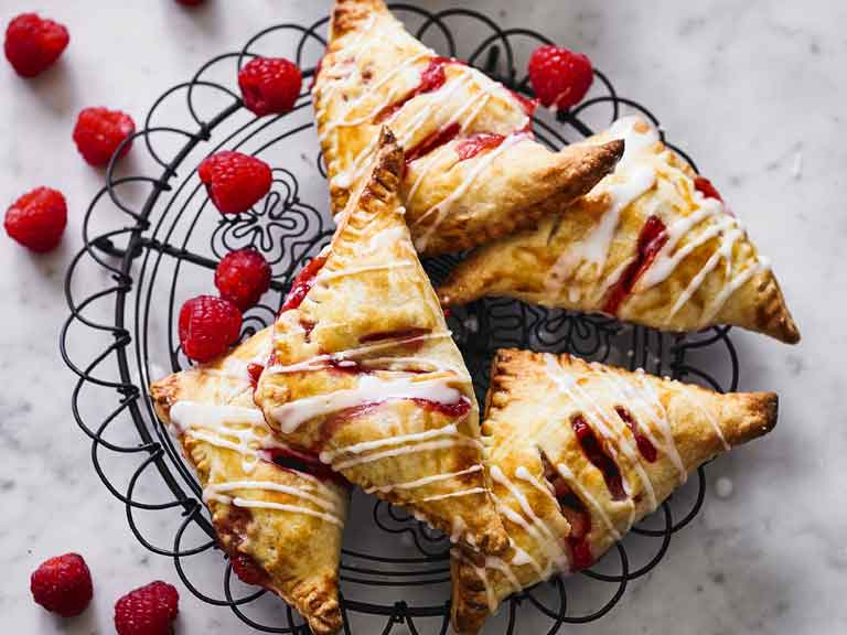 Raspberry and apple turnovers