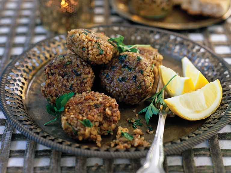Lebanese bulgur and lamb patties (kibbeh)