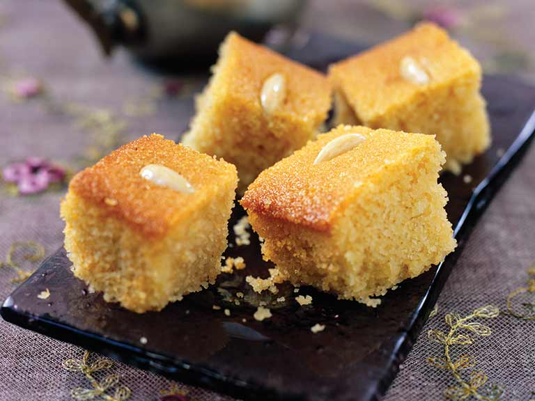 Basbousa - semolina cake with poppy seeds