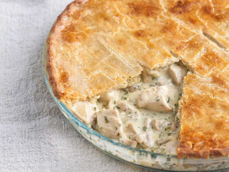 Chicken and mushroom pie with a cheddar crust