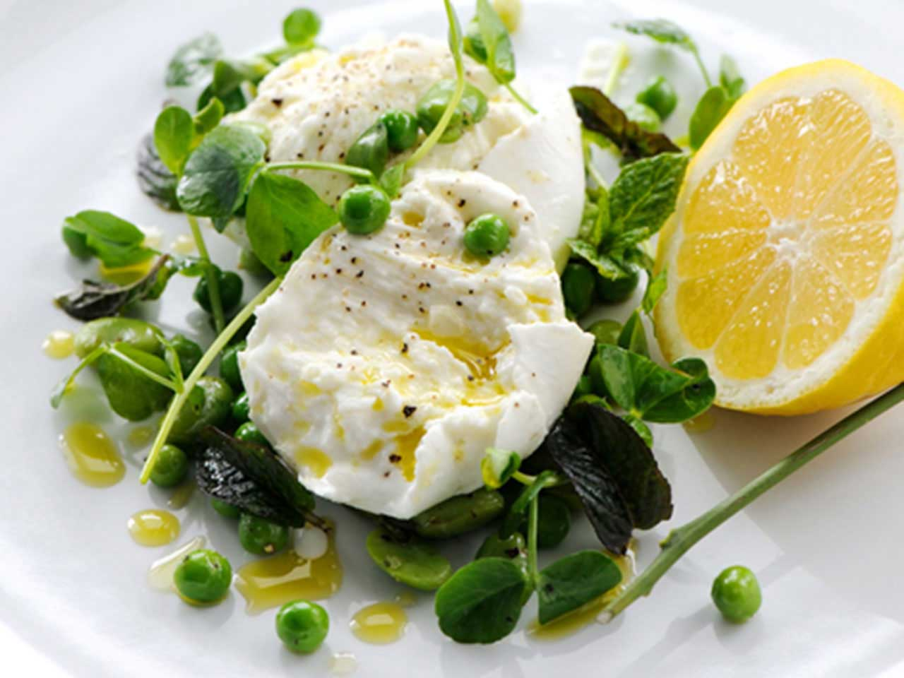 Mozzarella, pea and broad bean salad