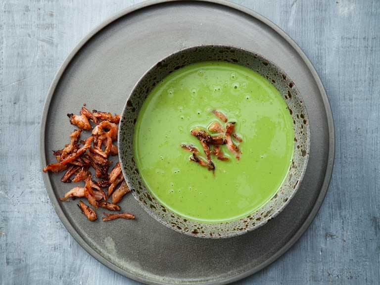 The Hairy Dieters pea, mint and ham soup