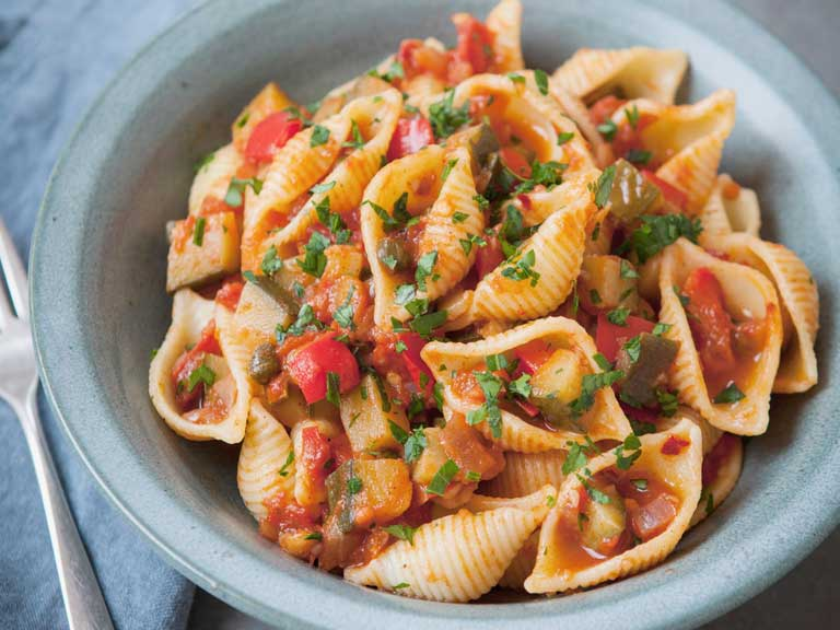Courgette caponata pasta from The Hairy Bikers