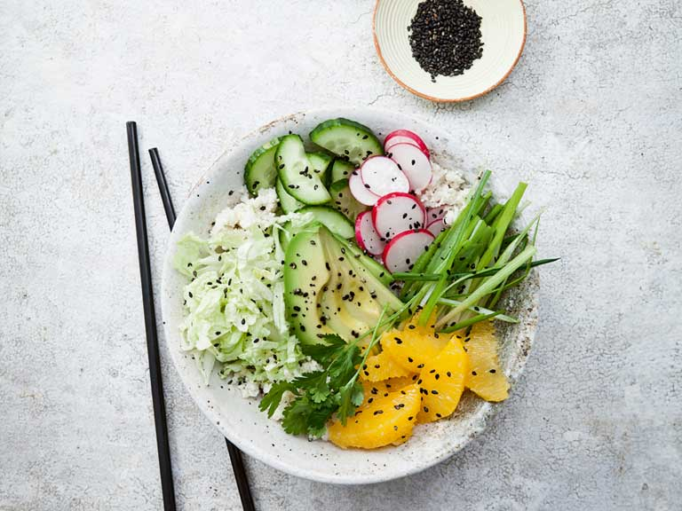 The Hairy Dieters vegetarian avocado poke bowl