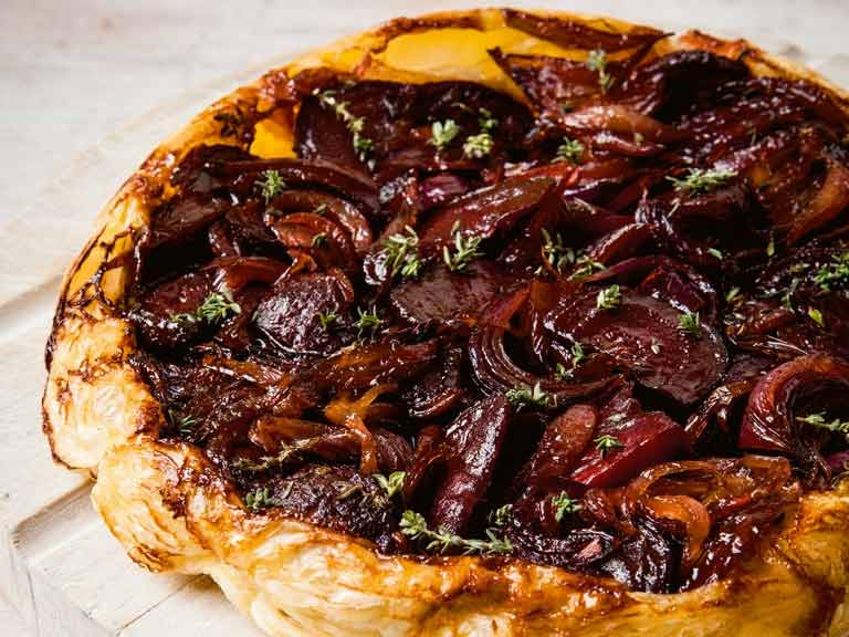 The Hairy Bikers' red onion and beetroot tarte tatin