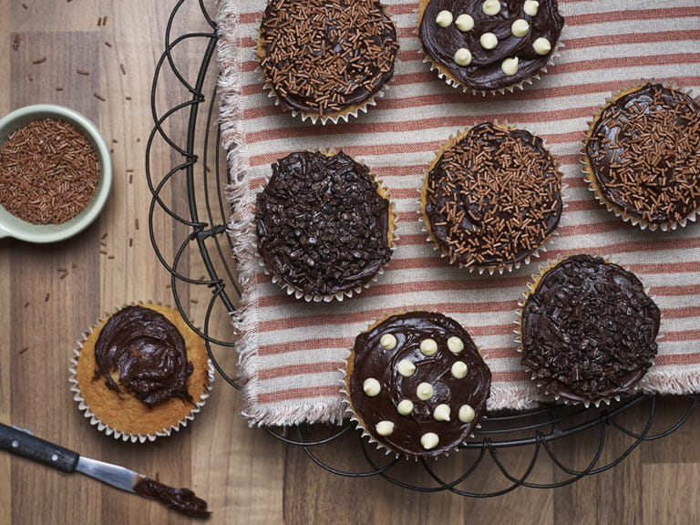 Chocolate iced cupcakes