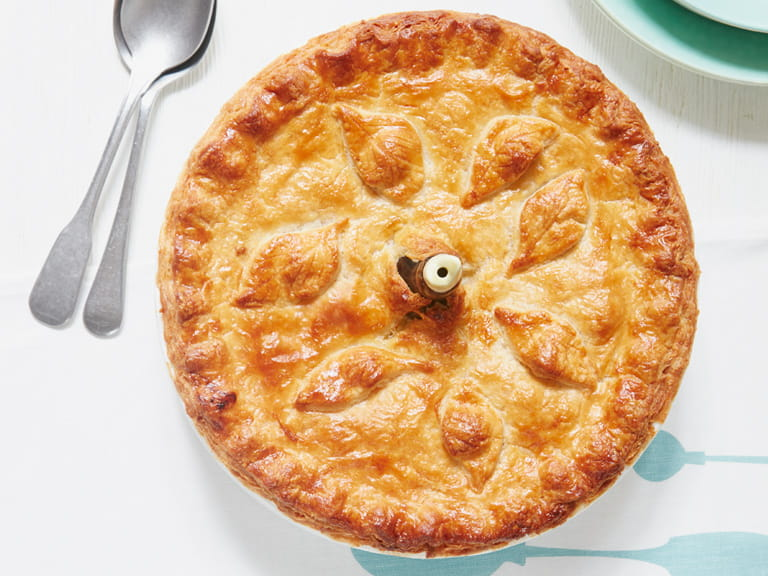 Mary Berry's potato, leek and cheese pie