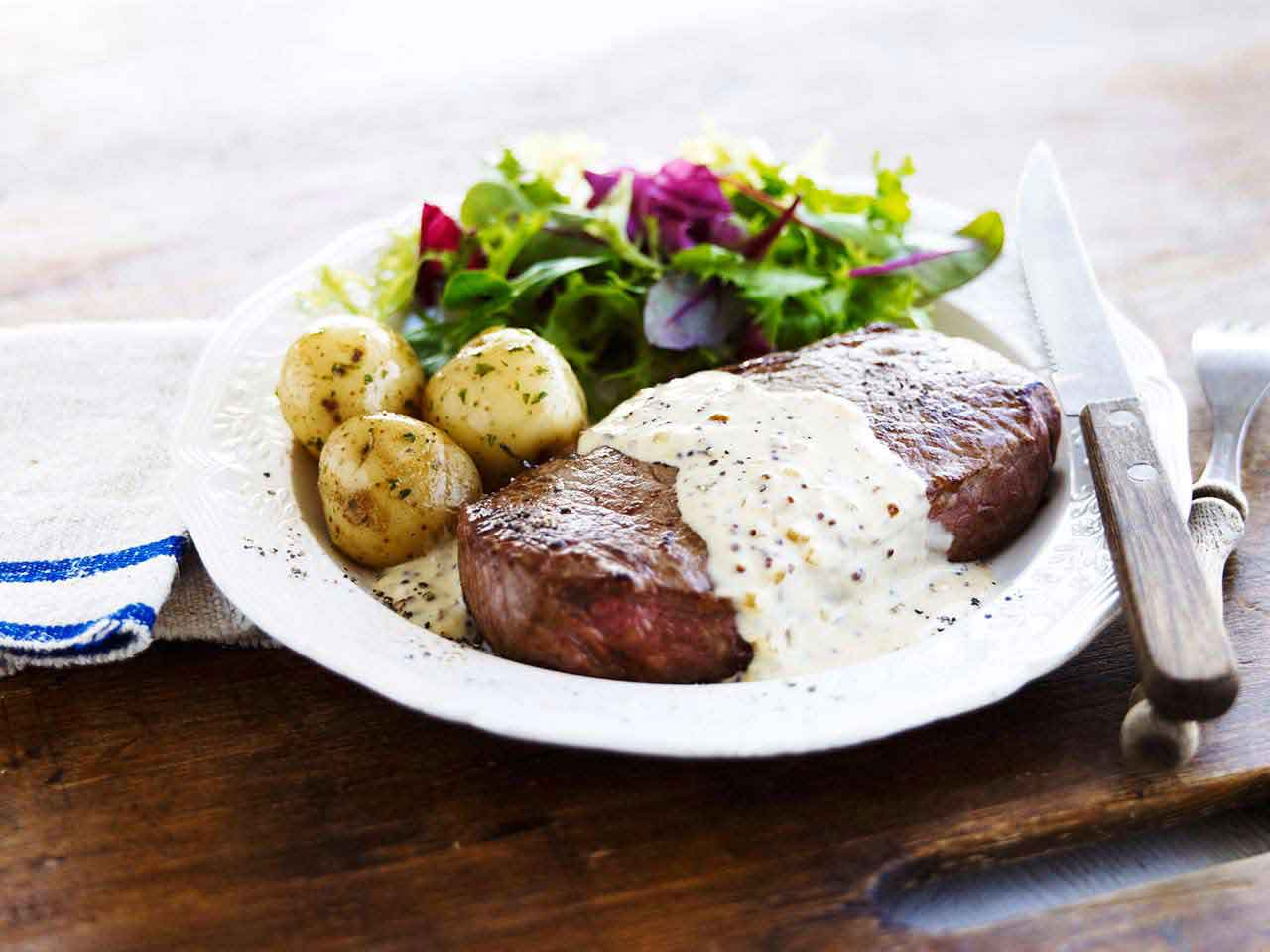 Sirloin steak with brandy, mustard and clotted cream