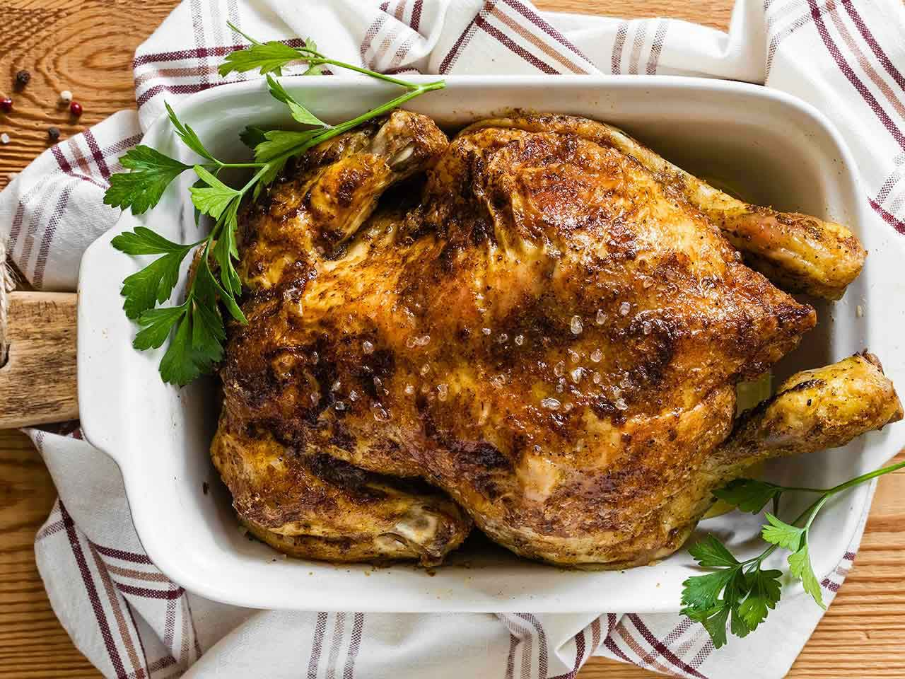 Healthy low salt roast chicken