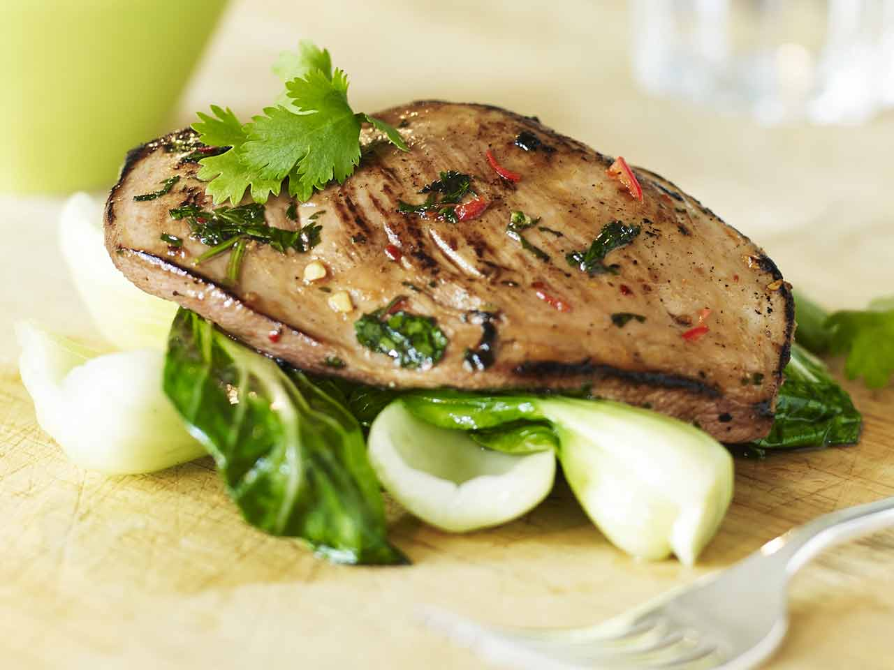 Seared lime and coriander duck breast with pak choi