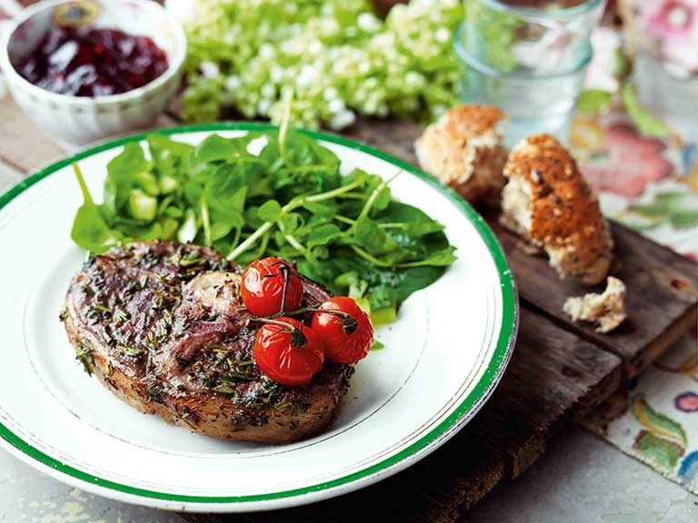 Redcurrant and herb Barnsley chops