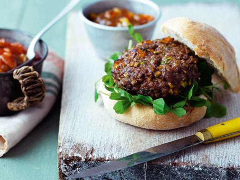 Lamb, apricot and coriander burger