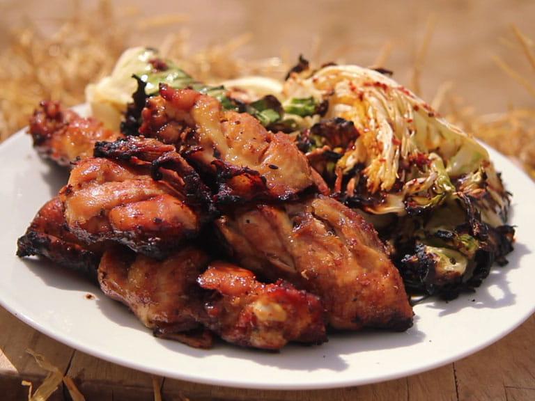 BBQ honey-glazed chicken thighs
