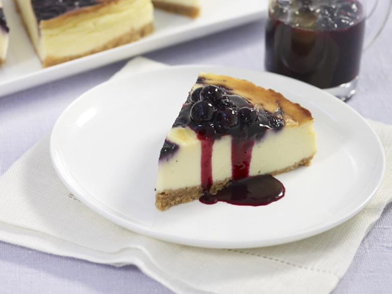 Blueberry ripple cheesecake