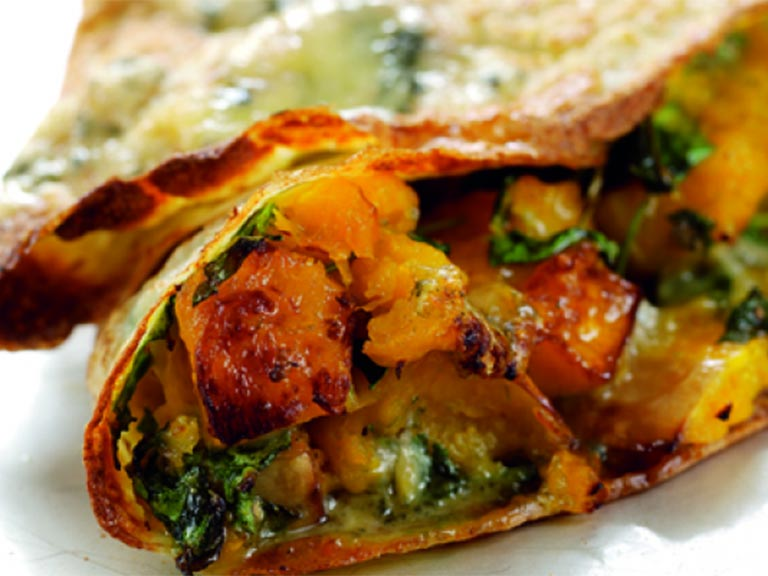 Butternut squash and stilton pancake
