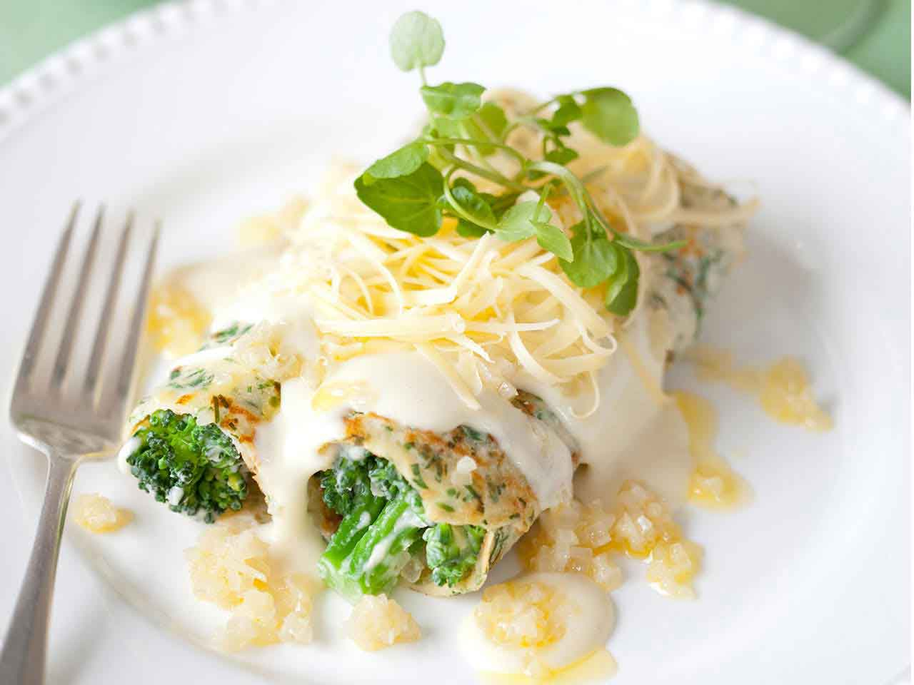 Savoury herb pancakes with Gruyere cheese, broccoli and shallots recipe