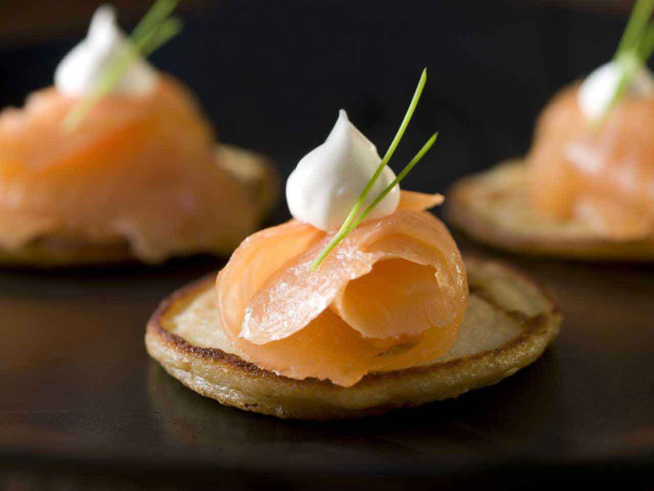 ... pancakes with smoked salmon, beetroot and apple relish, crème fraiche