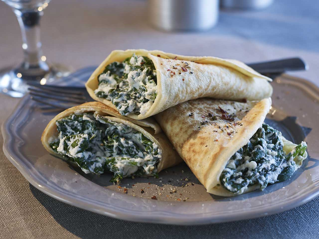 Spinach and ricotta pancakes