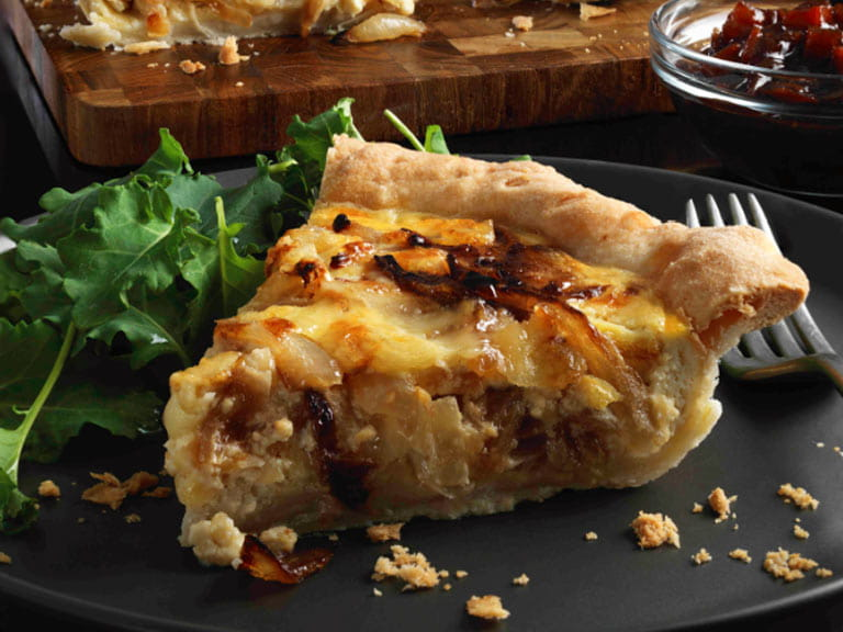 Cheese and caramelised onion tart