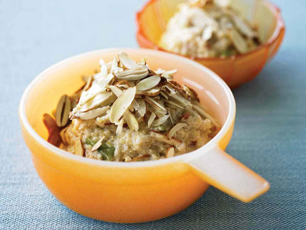 Chilled apple, pear and quinoa porridge with raw almonds