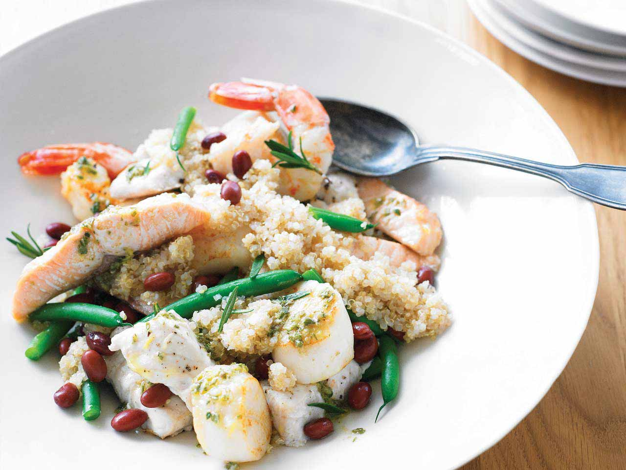 Warm seafood and quinoa salad