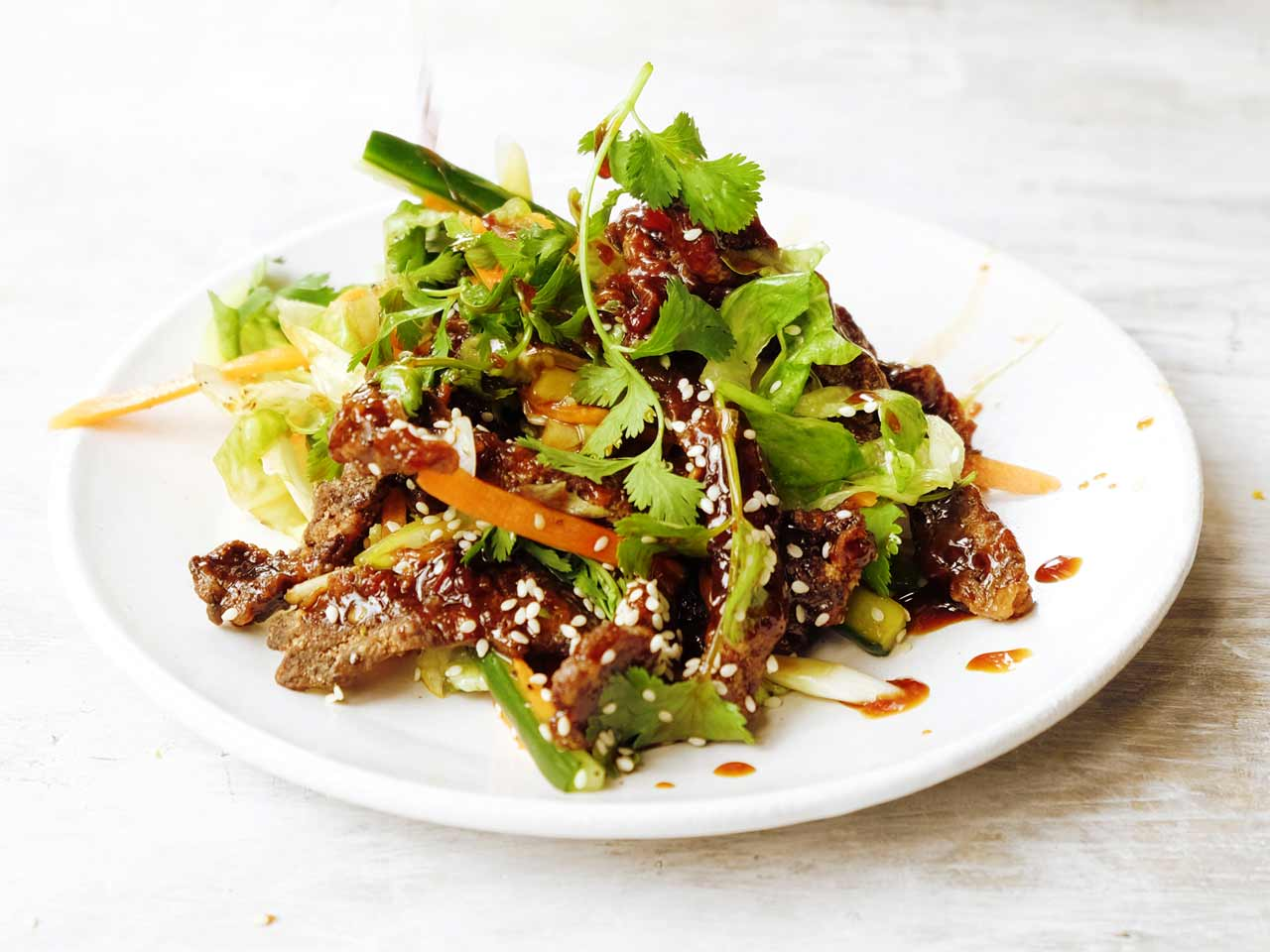 Chinese-style crispy beef salad